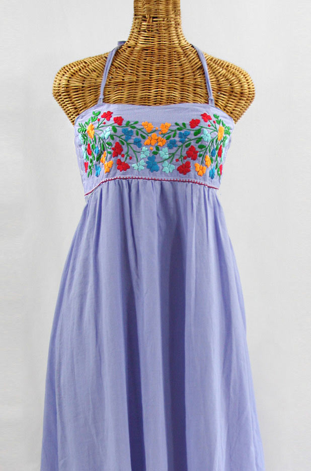 """60% Off Final Sale """"La Mallorca"""" Embroidered Maxi Dress with Lining - Periwinkle + Fiesta"""