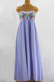 "60% Off Final Sale ""La Mallorca"" Embroidered Maxi Dress with Lining - Periwinkle + Fiesta"