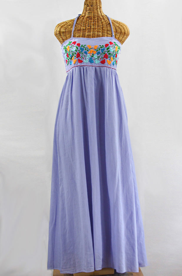 """La Mallorca"" Embroidered Maxi Dress with Lining - Periwinkle + Fiesta"