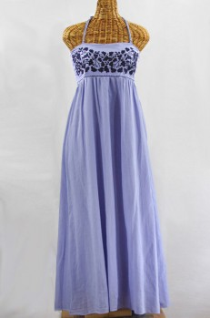 """La Mallorca"" Embroidered Maxi Dress with Lining - Periwinkle + Navy"