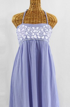 """""""La Mallorca"""" Embroidered Maxi Dress with Lining - Periwinkle + White"""