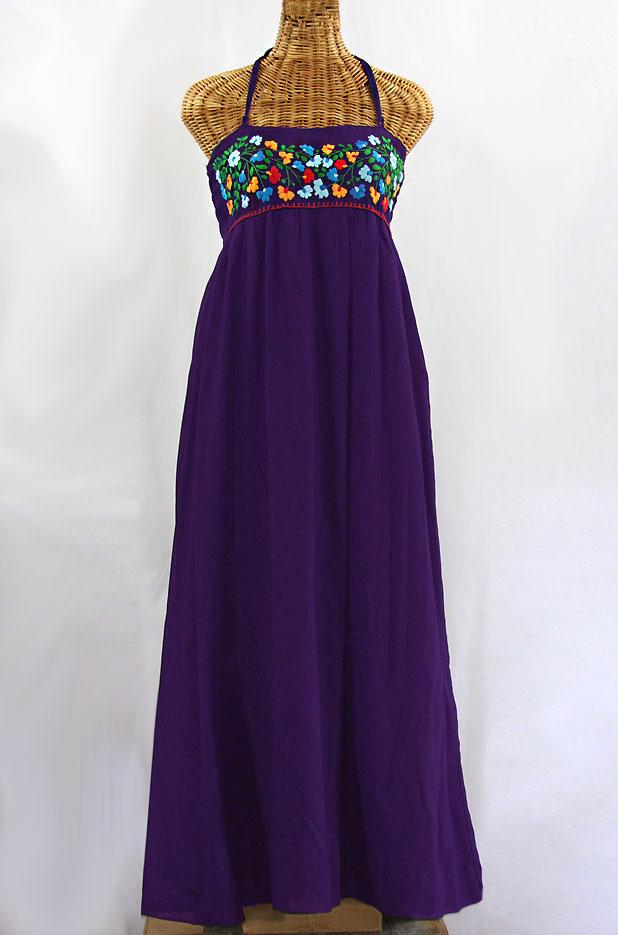"""La Mallorca"" Embroidered Maxi Dress with Lining - Purple + Fiesta"