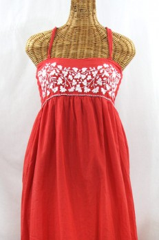 "60% Off Final Sale ""La Mallorca"" Embroidered Maxi Dress with Lining - Tomato Red + White"