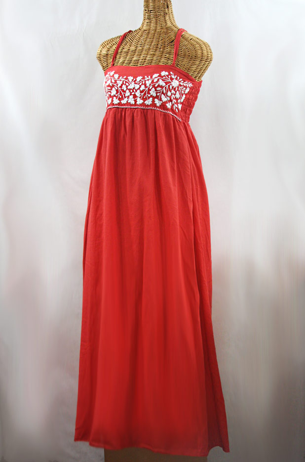 "60% Off Final Sale ""La Mallorca"" Embroidered Maxi Dress with Lining - Tomato Red + White"