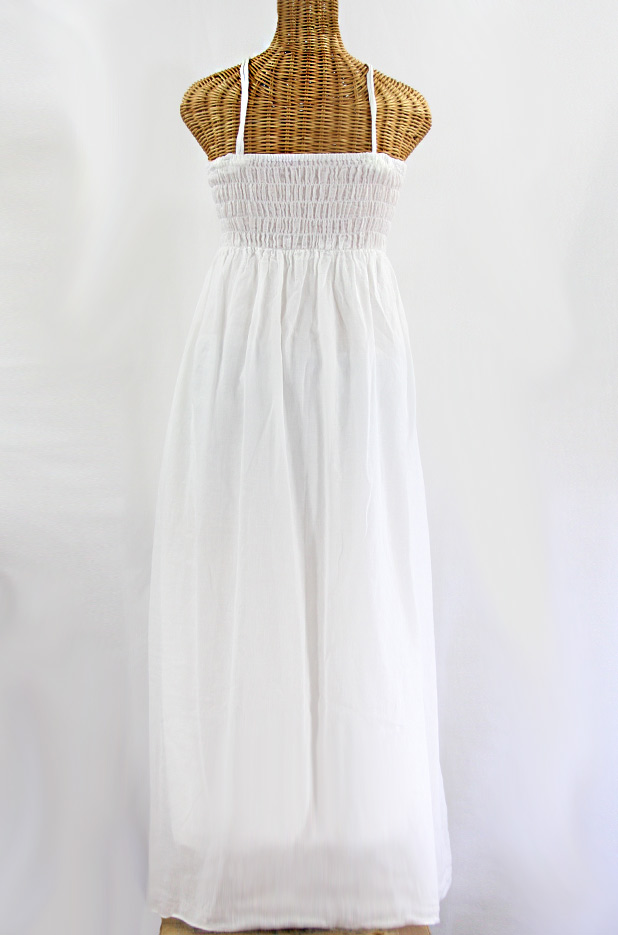 "Final Sale 60% Off -- ""La Mallorca"" Embroidered Maxi Dress with Lining - White + Navy"