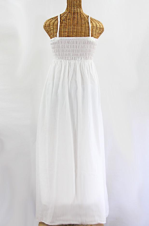 """La Mallorca"" Embroidered Maxi Dress with Lining - White + Blue"