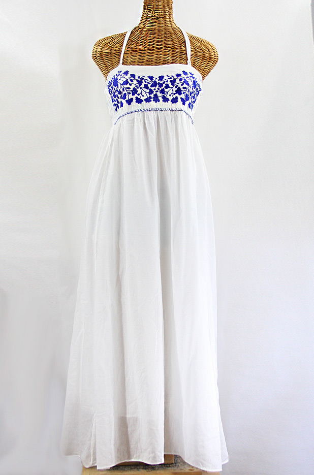 """La Mallorca"" Embroidered Maxi Dress with Lining - White + Blue"