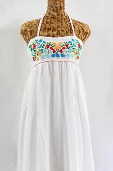 """La Mallorca"" Embroidered Maxi Dress with Lining - White + Fiesta"