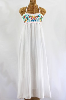 """La Mallorca"" Embroidered Maxi Dress with Lining - White + Fiesta"