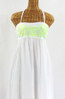 """Final Sale 60% Off -- """"La Mallorca"""" Embroidered Maxi Dress with Lining - White + Neon Green"""