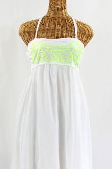 """La Mallorca"" Embroidered Maxi Dress with Lining - White + Neon Green"