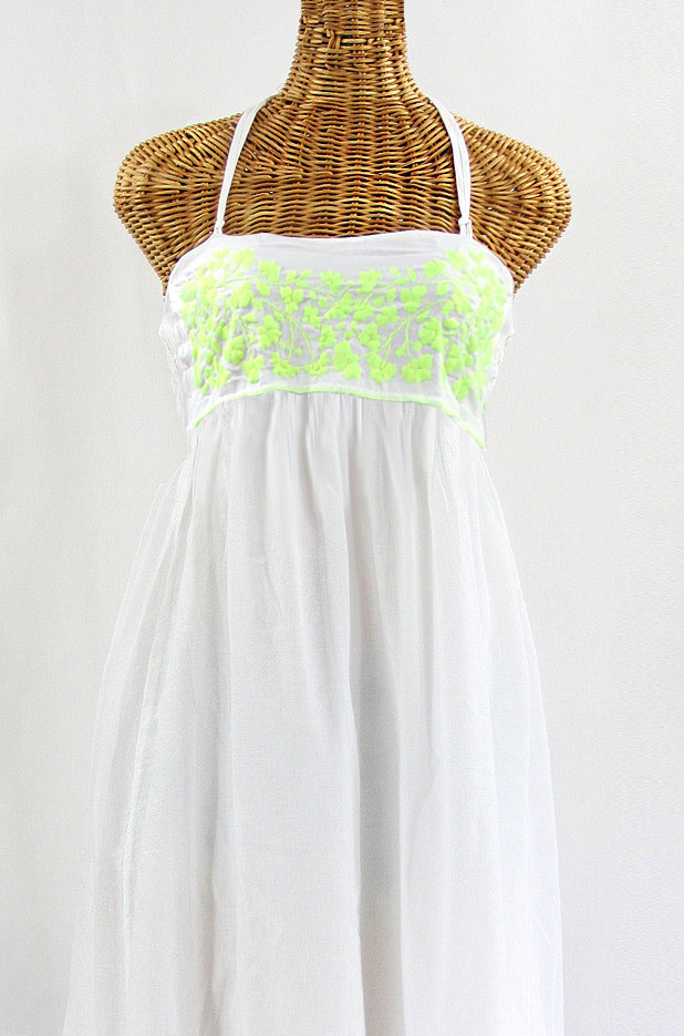 """La Mallorca"" Embroidered Maxi Dress with Lining - White + Neon Green"