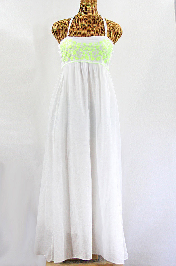 "Final Sale 60% Off -- ""La Mallorca"" Embroidered Maxi Dress with Lining - White + Neon Green"