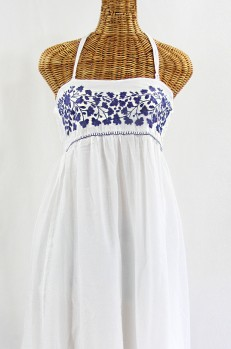 """Final Sale 60% Off -- """"La Mallorca"""" Embroidered Maxi Dress with Lining - White + Navy"""