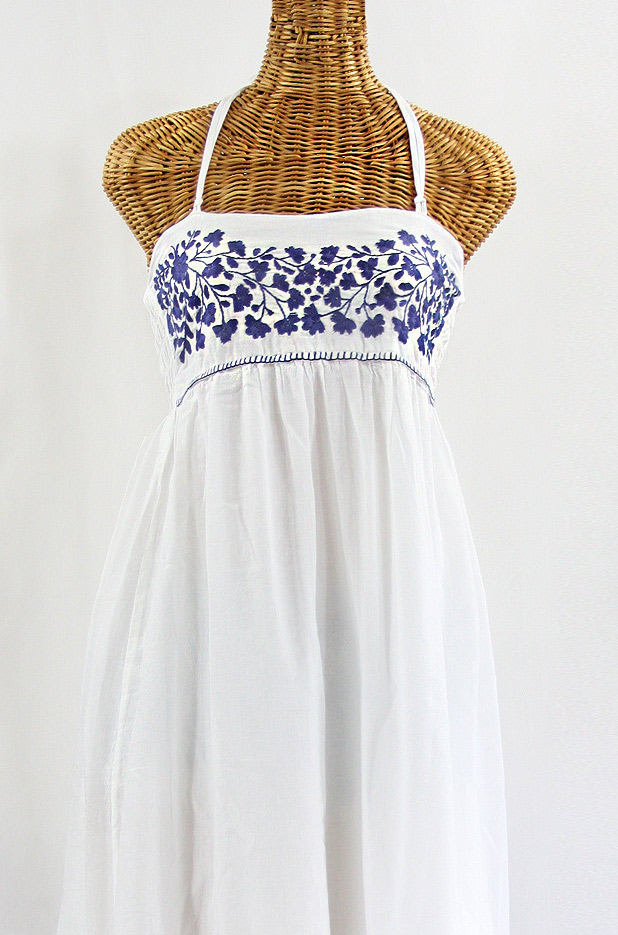 """60% Off Final Sale """"La Mallorca"""" Embroidered Maxi Dress with Lining - White + Navy"""