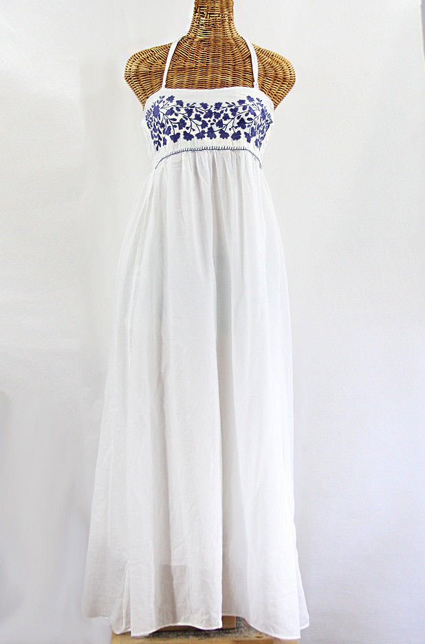 """La Mallorca"" Embroidered Maxi Dress with Lining - White + Navy"