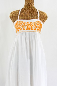 """""""La Mallorca"""" Embroidered Maxi Dress with Lining - White + Neon Orange"""