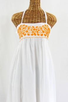 "Final Sale 60% Off -- ""La Mallorca"" Embroidered Maxi Dress with Lining - White + Neon Orange"