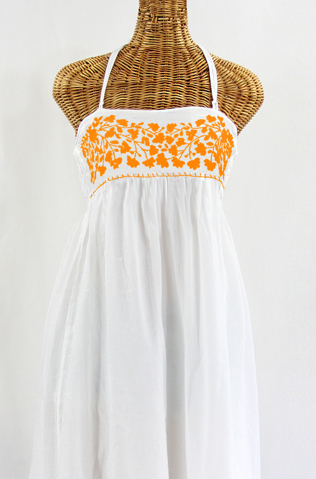 "60% Off Final Sale ""La Mallorca"" Embroidered Maxi Dress with Lining - White + Neon Orange"