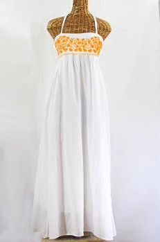 "Final Sale 60% Off -- ""La Mallorca"" Embroidered Maxi Dress with Lining - White + Neon Orange"