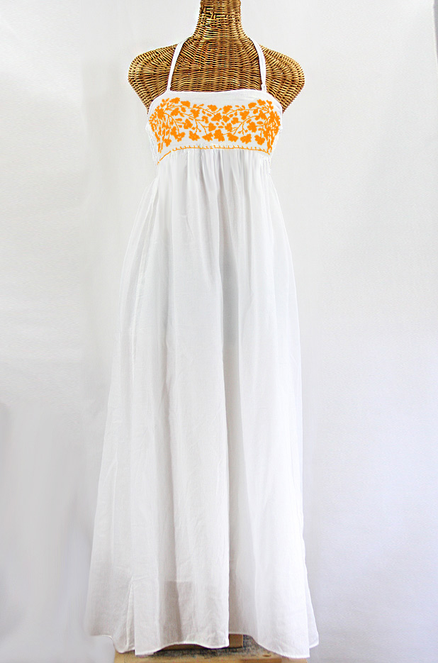 a15b8b9cf3b Embroidered Maxi Dress with Lining - White + Neon Orange