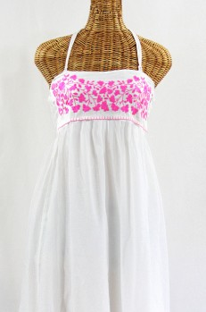 """60% Off Final Sale """"La Mallorca"""" Embroidered Maxi Dress with Lining - White + Neon Pink"""
