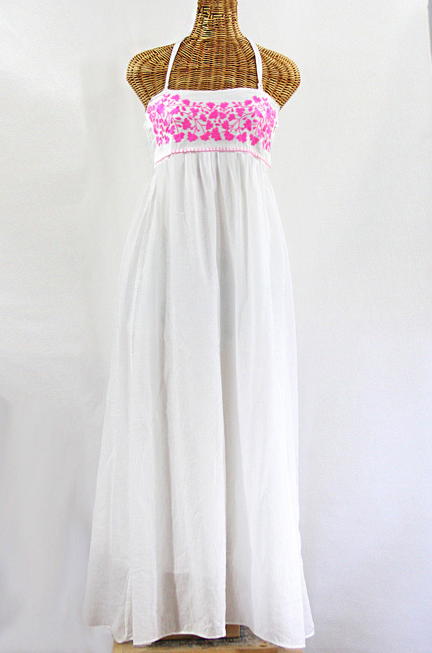 "Final Sale 60% Off -- ""La Mallorca"" Embroidered Maxi Dress with Lining - White + Neon Pink"