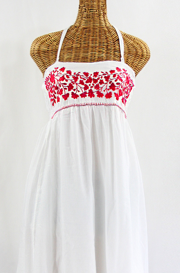 """""""La Mallorca"""" Embroidered Maxi Dress with Lining - White + Red"""