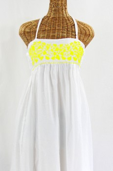 """Final Sale 60% Off -- """"La Mallorca"""" Embroidered Maxi Dress with Lining - White + Yellow"""