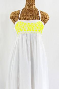 """La Mallorca"" Embroidered Maxi Dress with Lining - White + Yellow"