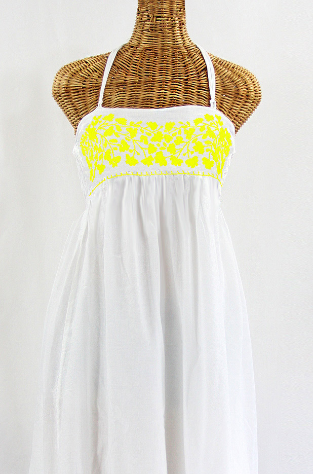 """60% Off Final Sale """"La Mallorca"""" Embroidered Maxi Dress with Lining - White + Yellow"""