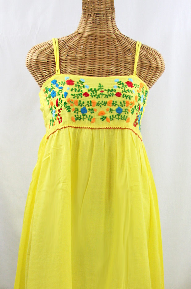 """60% Off Final Sale """"La Marbella"""" Embroidered Maxi Dress with Lining - Yellow + Fiesta"""