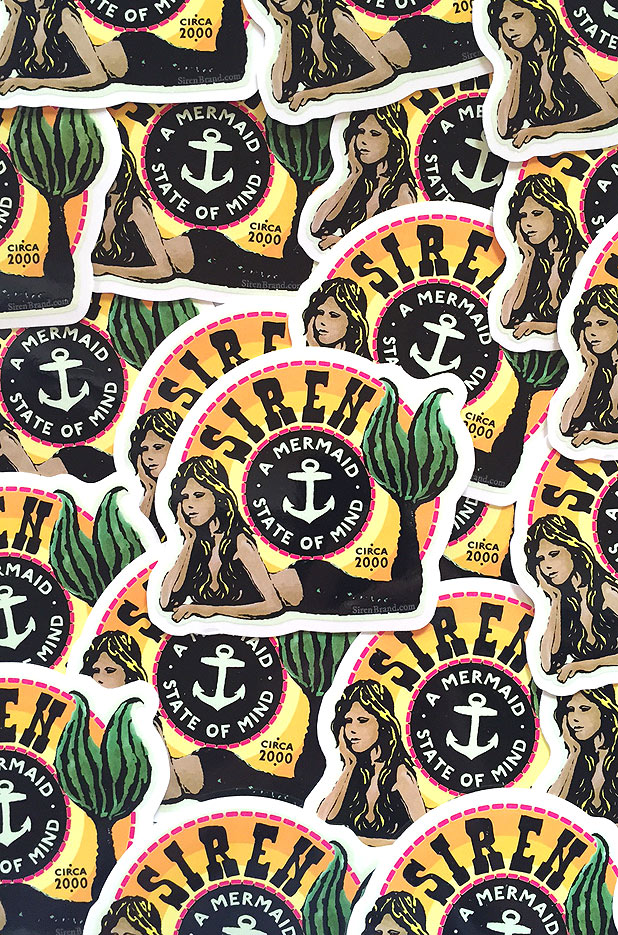 Siren Mermaid State of Mind Logo Sticker