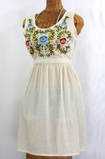 """La Mimosa"" Mexican Embroidered Peasant Dress - Off White"