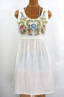 """La Mimosa"" Mexican Embroidered Peasant Dress - Classic White"
