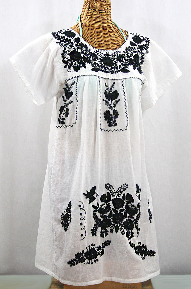 """La Salamanca"" Open Sleeve Embroidered Mexican Dress - White + Black"