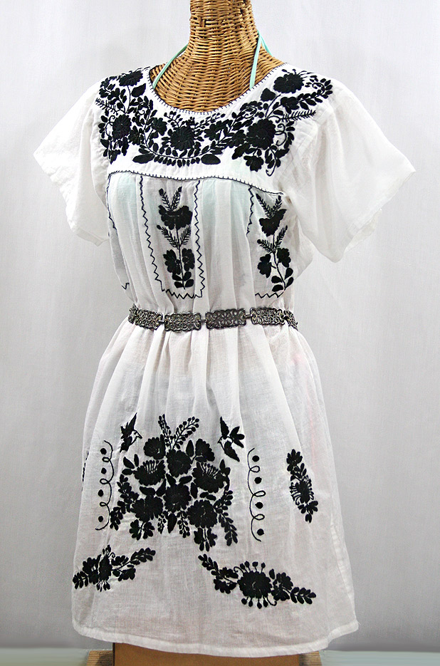 """""""La Salamanca"""" Open Sleeve Embroidered Mexican Dress - White + Black"""