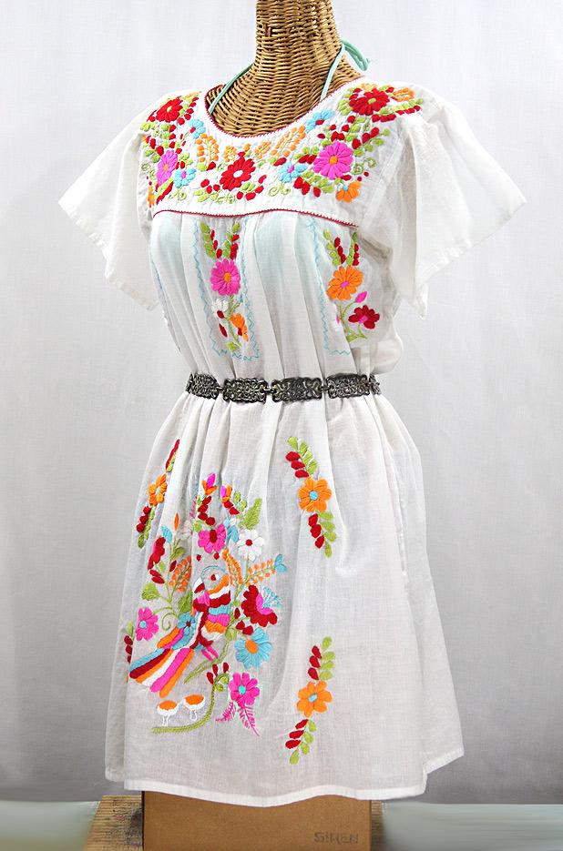 """La Jacaranda"" Open Sleeve Embroidered Mexican Dress - White + Multi"