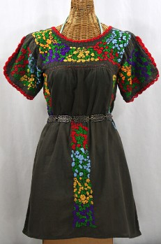 """""""La Caracola"""" Embroidered Mexican Dress - Brown + Multi"""