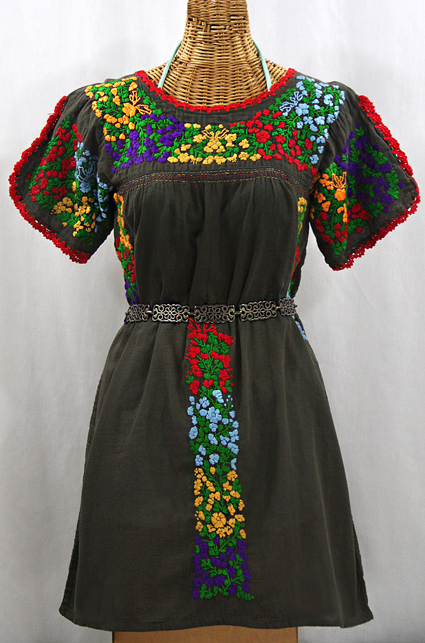 """La Caracola"" Embroidered Mexican Dress - Brown + Multi"