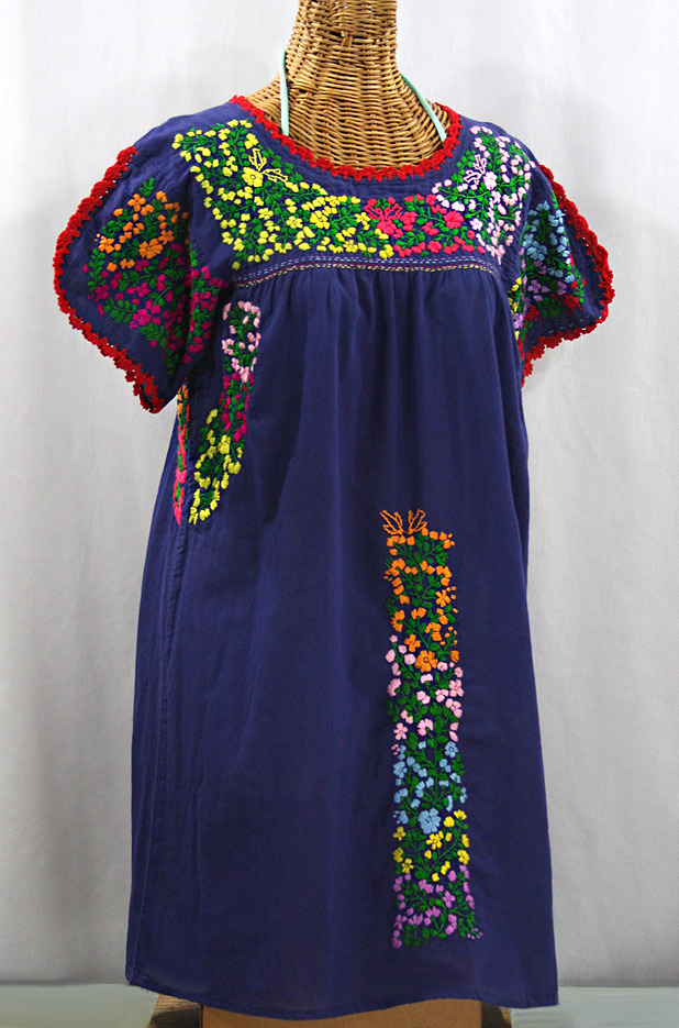 """La Caracola"" Embroidered Mexican Dress - Denim Blue + Multi"