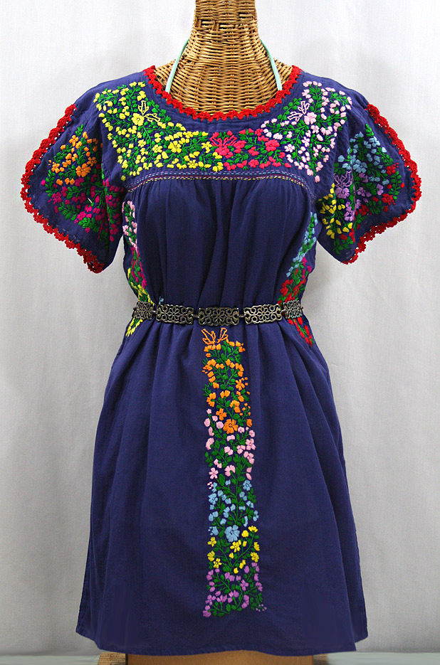 """La Caracola"" Embroidered Mexican Dress - Denim Blue + Multi"