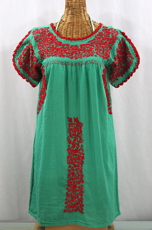 """60% Off Final Sale """"La Caracola"""" Embroidered Mexican Dress - Green + Red"""