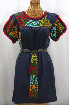 """""""La Caracola"""" Embroidered Mexican Dress - Navy Blue + Multi"""