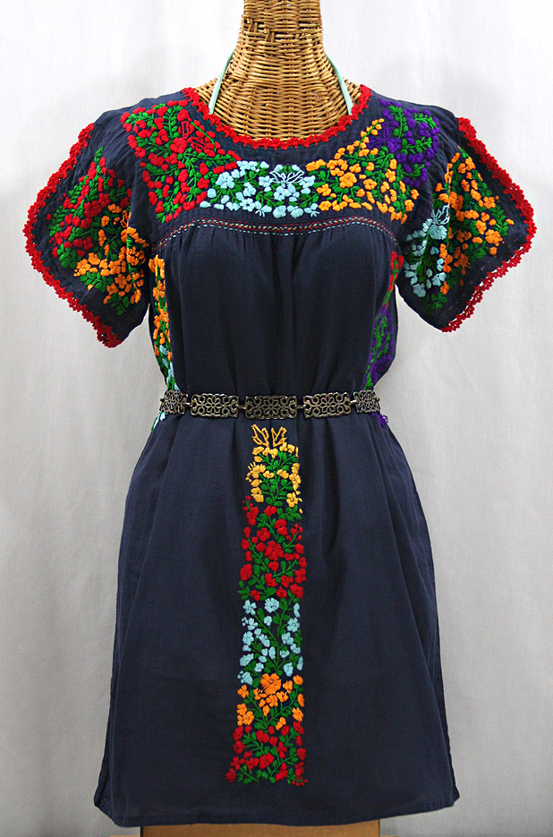 """La Caracola"" Embroidered Mexican Dress - Navy Blue + Multi"