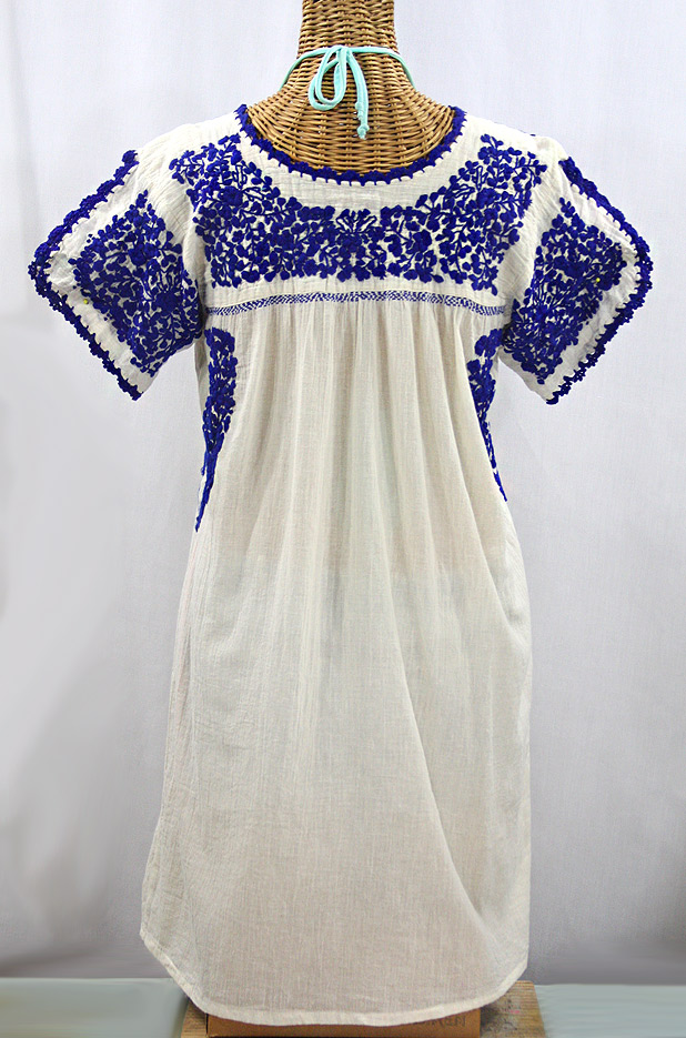 """La Caracola"" Embroidered Mexican Dress - Off White + Blue"