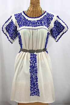 """""""La Caracola"""" Embroidered Mexican Dress - Off White + Blue"""