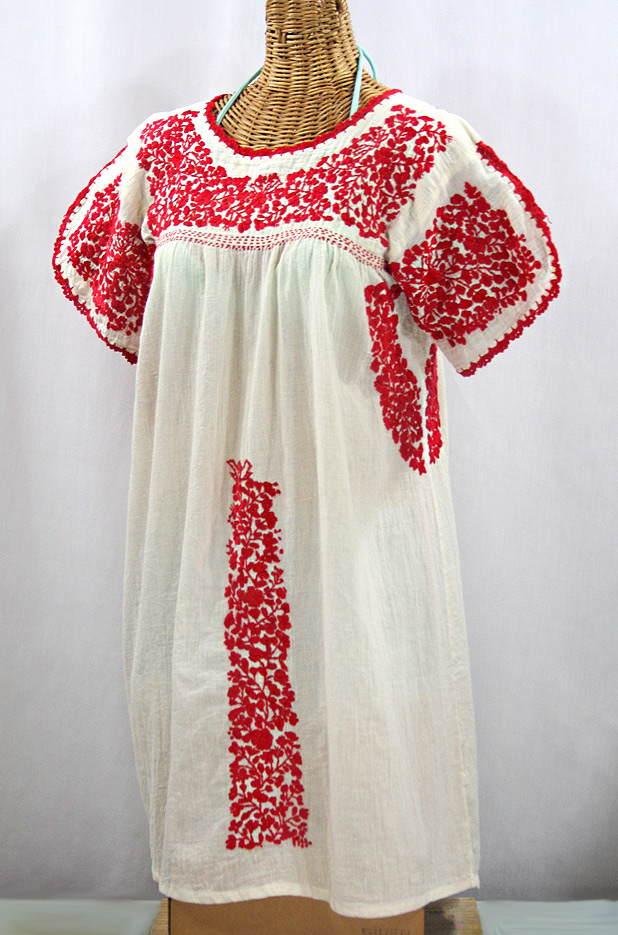 """60% Off Final Sale """"La Caracola"""" Embroidered Mexican Dress - Off White + Red"""