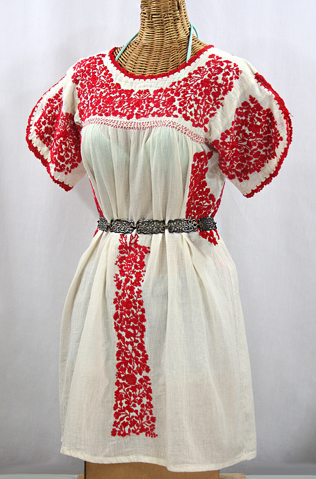 """""""La Caracola"""" Embroidered Mexican Dress - Off White + Red"""