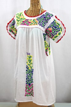 """La Caracola"" Embroidered Mexican Dress - White + Multi"